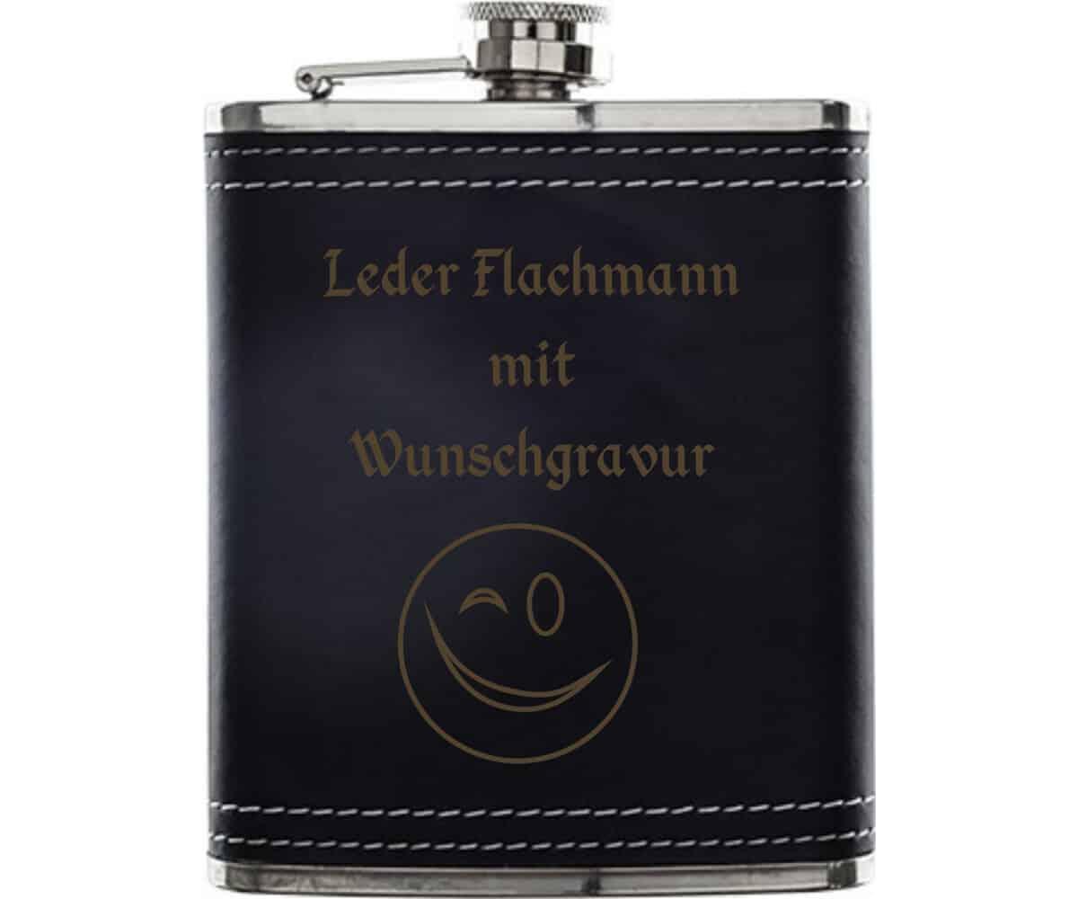 Flachmann Leder mit Geschenkset